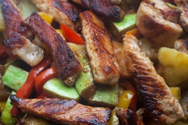 carne e vegetais